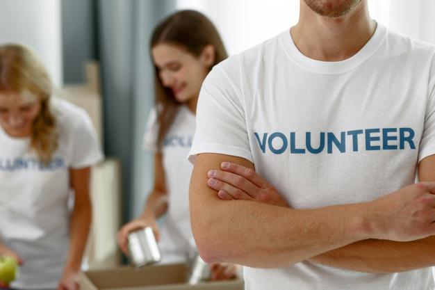 volunteers work